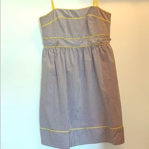 Striped Dress with Yellow Piping Detail